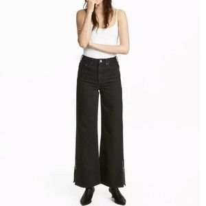 H&M Black Side Zip Culotte High Waist Jeans